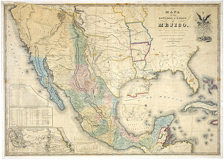 """Mapa de los Estados Unidos de Mejico"", by John Distrunell, the 1847 map used during the negotiations of the Treaty of Guadalupe Hidalgo Map of Mexico 1847.jpg"