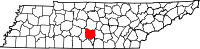 Map of Tennessee highlighting Bedford County