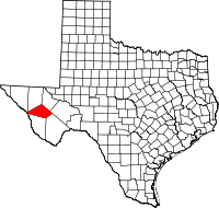Map of Teksas highlighting Jeff Davis County