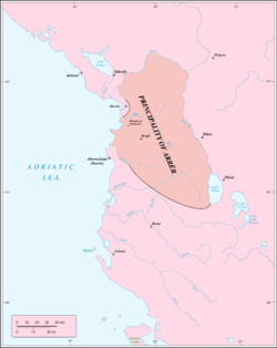 Principality of Arbër at its maximum extension