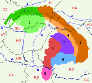 Map of the Carpathian subdivisions.