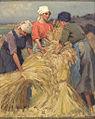 Martin Frost Drei junge Frauen binden Weizengarben.jpg