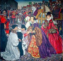 L'entrata a Londra di Maria nel 1553, alle sue spalle vi è la sorellastra Elisabetta.