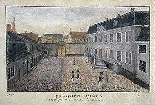 1824 / Krigsskolens Gaardsrum / taget fra Undertegnedes Sengkammer.