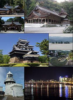 From top left: Kumano Taisha, Yaegaki Shrine, Miho Shrine, Matsue Castle, Lake Shinji (Yomegashima), Tamatsukuri hot springs, Mihonoseki Lighthouse, Night view of Matsue