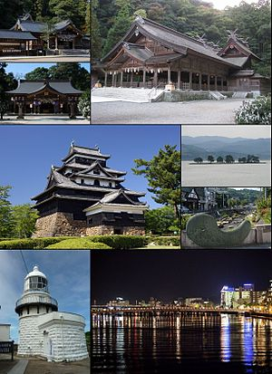 Matsue - From top left: Kumano Taisha, Yaegaki Shrine, Miho Shrine, Matsue Castle, Lake Shinji (Yomegashima), Tamatsukuri hot springs, Mihonoseki Lighthouse, Night view of Matsue