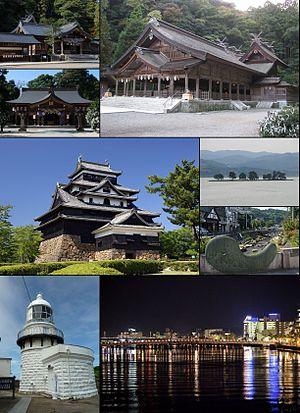 Matsue - From top left: Kumano Taisha, Yaegaki Shrine, Miho Shrine, Matsue Castle, Lake Shinji (Yomegashima), Tamatsukuri hot springs, Mihonoseki Lighthouse, Night view of Matsue