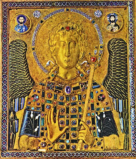 10th-century gold and enamel Byzantine icon of St Michael, in the treasury of the St Mark's Basilica Meister der Ikone des Erzengels Michael 001 adjusted.jpg