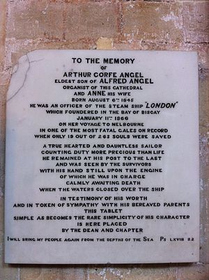 SS London (1864) - Memorial to Arthur Corfe Angel in Exeter Cathedral