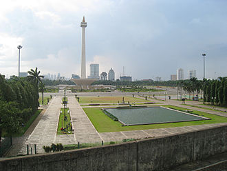 Merdeka Square, Jakarta - A view of Merdeka Square from Gambir Station. with National Monument standing in the middle of the Square.