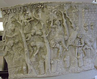 Road transport - Road construction, depicted on Trajan's Column.