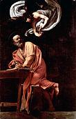 Ο Άγιος Ματθαίος και ο άγγελος (Καραβάτζιο), 295x195 εκ, 1602.