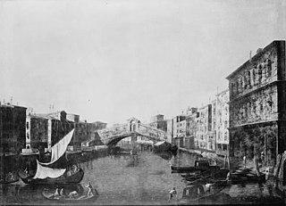 View of Canale Grande in Venice with the Rialto Bridge