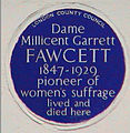 Millicent Garrett Fawcett Plaque, Gower Street, London.jpg