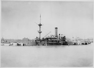 USS Monadnock (BM-3) - Monadnock (BM3), starboard side, in Chinese waters ca. 1901. (National Archives and Records Administration)