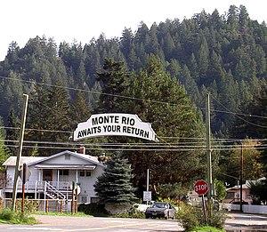 "Monte Rio, California - Leaving Monte Rio eastbound on ""D"" Street"