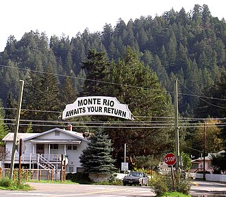 "Monte Rio, California - Leaving Monte Rio eastbound on ""D"" Street"