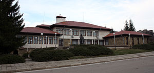 Bailovo - Center of Bailovo with library and museum buildings, and monument of Elin Pelin