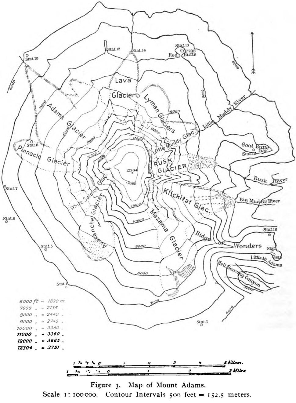 Mount Adams (Washington) Map 1901 Reid