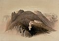Mount Hor, seen from the cliffs near Petra. Coloured lithogr Wellcome V0049431.jpg