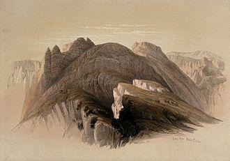 Horites - Mt Hor, seen from cliffs near Petra. 1849