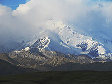 The top of Denali is shrouded in clouds