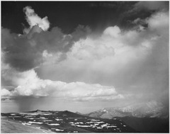 "Mountain tops, low horizon, dramatic clouded sky, ""In Rocky Mountain National Park,"" Colorado, 1933 - 1942 - NARA - 519957.tif"