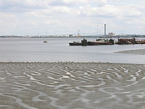 Erith - Mudflats on the Thames, with the Queen Elizabeth II Bridge in the far background