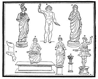 Muri statuette group - The statues as depicted in the 1832 Hinkender Bote.