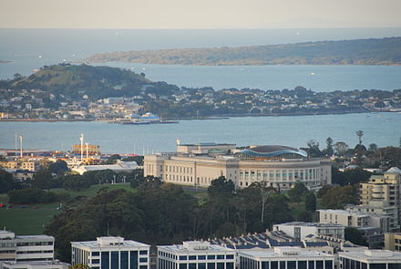 The museum seen from Maungawhau / Mount Eden, showing the wavy shape of the copper dome. Museum from mt eden.jpg