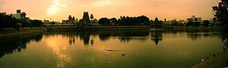Kapaleeshwarar Temple - View of the temple tank at dawn.