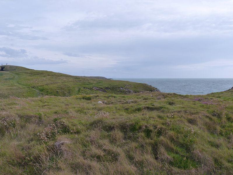 File:Mynydd Bach round cairn, Aberffraw, Anglesey, with Barclodiad beyond.jpg