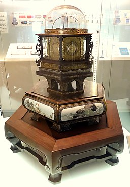 Myriad-Year Clock, made by Hisashige Tanaka, 1851, with western and Japanese dials, weekly, monthly, and zodiac setting, plus sun and moon - National Museum of Nature and Science, Tokyo - DSC07407