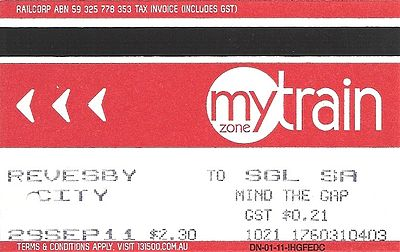 An example of one of Sydney's train tickets
