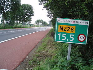 Reassurance marker - Hectometer post on the N228 road in Utrecht province