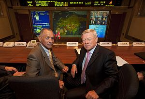 Anatoly Perminov - NASA administrator Charles Bolden meets Anatoly Perminov at Mission Control Centre Moscow in Korolev, Russia.