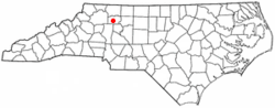 Location of Yadkinville, North Carolina
