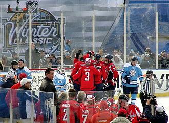 2011 NHL Winter Classic - Capitals alumni celebrate Peter Bondra's tying goal.