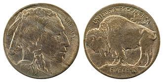Buffalo nickel - Image: NNC US 1913 5C Buffalo Nickel (Ty I mound)