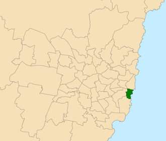 Electoral district of Coogee - Location within Sydney