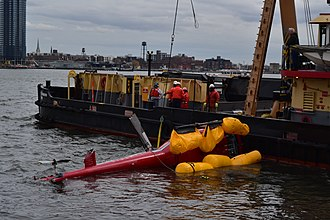 2018 New York City helicopter crash - Helicopter being recovered from the East River on March 12, 2018