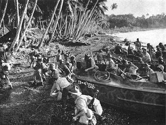 Battle of Vella Lavella (land) - New Zealand soldiers land at Baka Baka, Vella Lavella to relieve US troops on 17 September 1943.