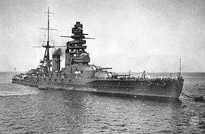 Nagato-class battleship - Nagato at anchor, around 1924