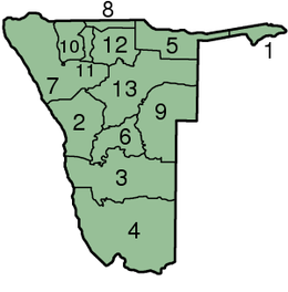 Map of Namibian administrative regions.