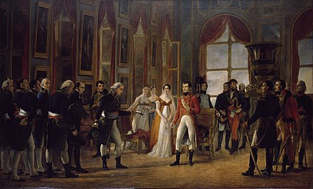 Painting by Georges Rouget showing Napoleon in Saint-Cloud receiving the senatus-consulte proclaiming him Emperor of the French (1804). Napoleon Ier recoit a Saint-Cloud le Senatus-Consulte qui le proclame empereur des Francais.jpg