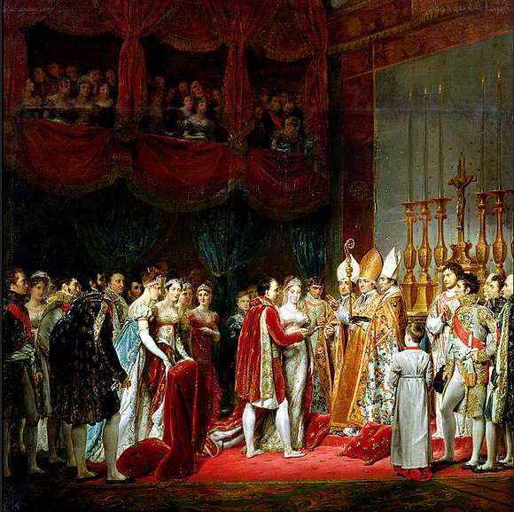 Metternich was influential in bringing about the marriage of Napoleon to Archduchess Marie Louise of Austria. Painting by Georges Rouget. Napoleon Marie Louise Marriage1.jpeg