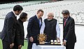 Narendra Modi with the Prime Minister of Australia, Mr. Tony Abbott, Shri Sunil Gavaskar, Shri Kapil Dev and Shri V.V.S. Laxman at the Civic Reception hosted by the Australian PM, at MCG, Australia on November 18, 2014 (3).jpg