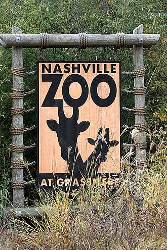 Nashville Zoo at Grassmere - Sign at zoo entrance