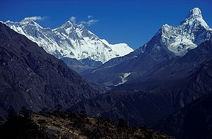 Nepal 2001. Mount Everest is the peak with the...