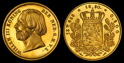 William III of the Netherlands depicted on a 20-guilder proof gold coin (1850)